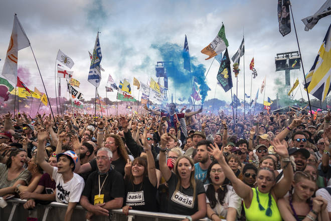 Fans watch Liam Gallagher at the Pyramid Stage at Glastonbury 2019