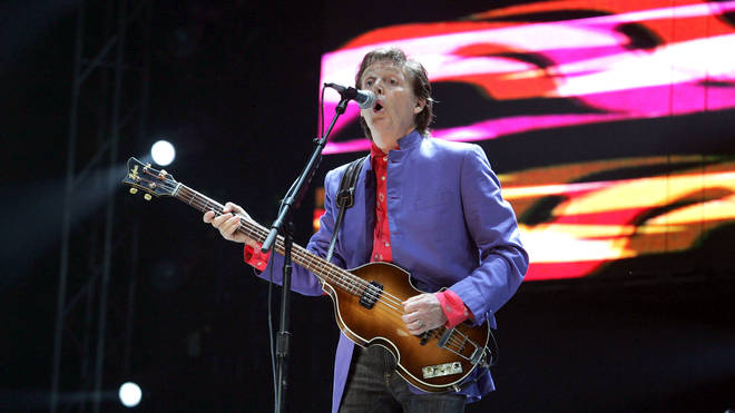 Paul McCartney onstage at Glastonbury in 2004