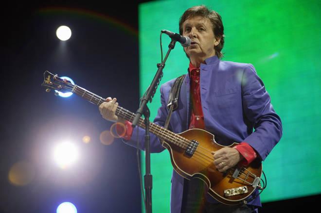 Paul McCartney onstage at Glastonbury 2004