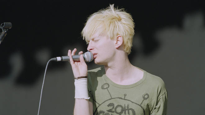 Thom Yorke of Radiohead performs at Reading Festival in England on 27 August 1994