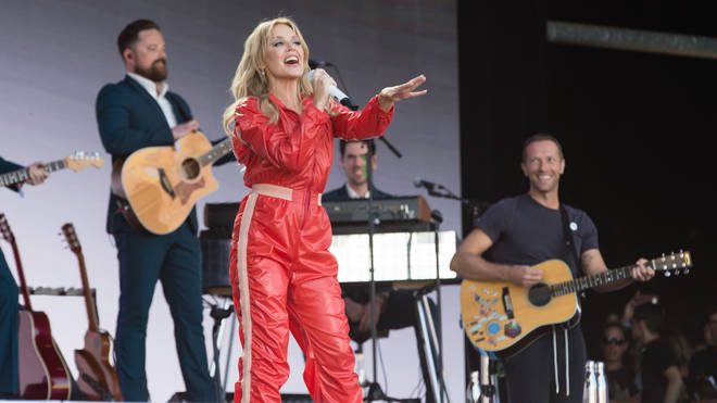 Chris Martin onstage with Kylie Minogue at Glastonbury 2019