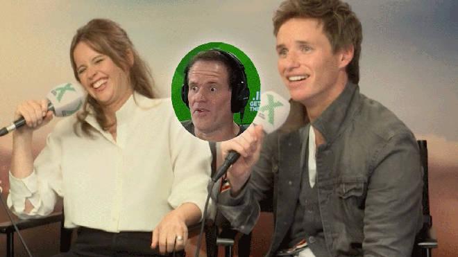 Felicity Jones and Eddie Redmayne with Chris Moyles inset