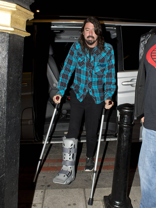 Dave Grohl is seen arriving at his hotel on June 14, 2015 in London,