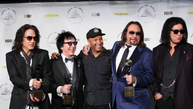Paul Stanley, Peter Criss, Tom Morello, Ace Frehley and Gene Simmons of KISS attend the 29th Annual Rock And Roll Hall Of Fame Induction Ceremony