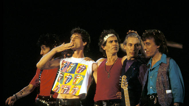 The Rolling Stones at the end of the final gig of their 'Steel Wheels' tour, Wembley Stadium, London, 25th August 1990