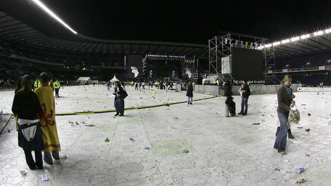 mpty stage after the Live 8 Edinburgh concert at Murrayfield Stadium on July 6, 2005 in Edinburgh, Scotland.