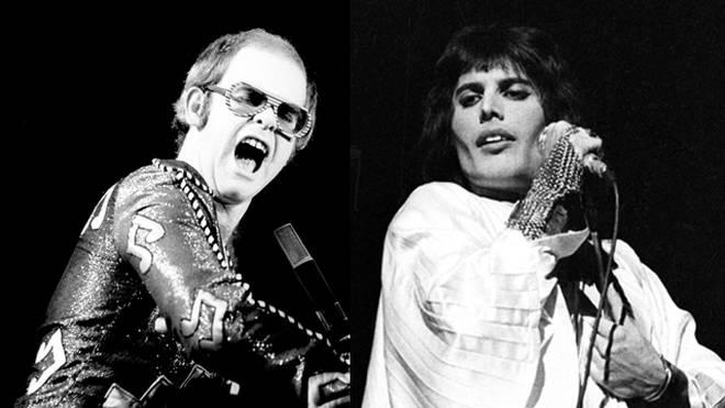 Elton John and Freddie Mercury performing live in 1975