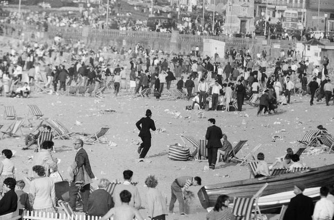 Geniune Mods versus Rockers at Margate, North East Kent in May 1964
