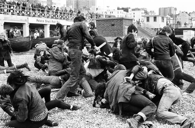 Fake Mods versus fake rockers filming Quadrophenia in October 1978