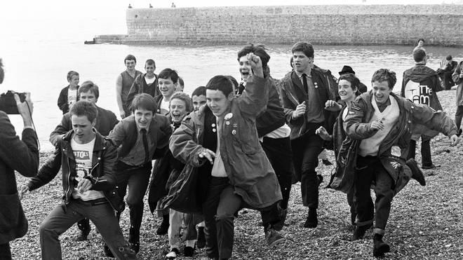 Post Quadrophenia Mods on Brighton Beach, 27 August 1979