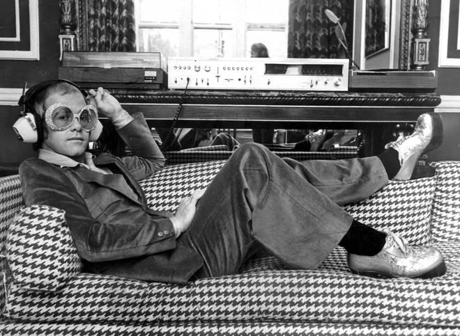 Elton John listening to music on Sony hi-fi equipment, 1974