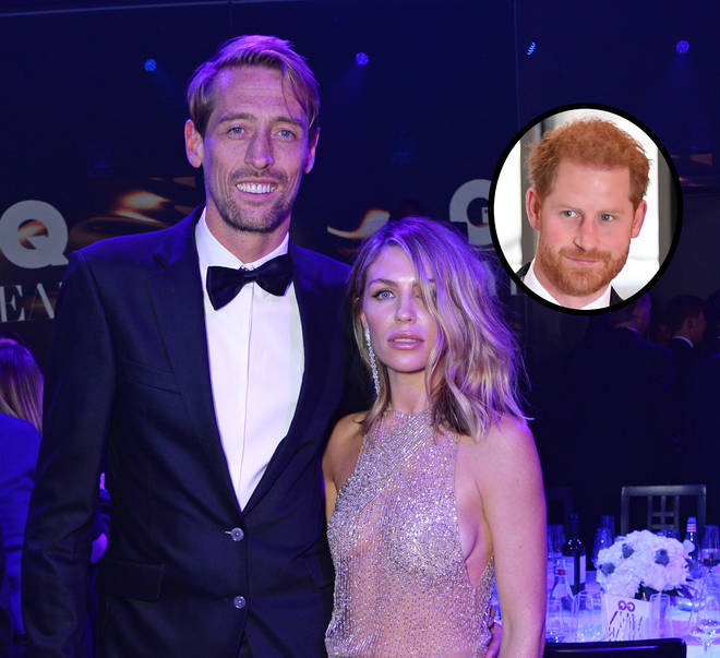 Abbey Clancy, Peter Crouch and Prince Harry inset