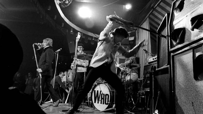 Pete Townsend hits destruct onstage with The Who at The Marquee in May 1967, at the venue's Wardour Street location
