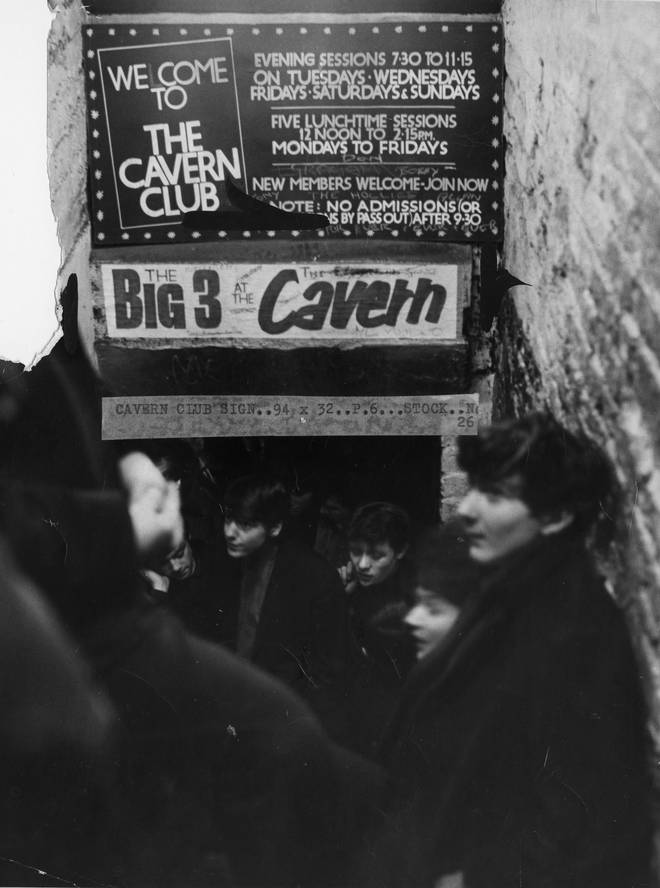 Fans queue to get in The Cavern Club in Liverpool, 3 January 1964