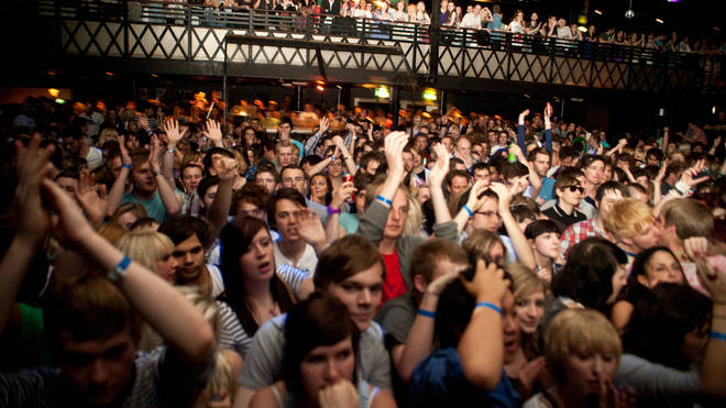 The crowd watch Mystery Jets perform on stage at Rock City during the Dot To Dot Festival on May 30, 2010