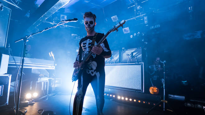 Mike Kerr of Royal Blood performs at Sheffield Leadmill on October 31, 2014