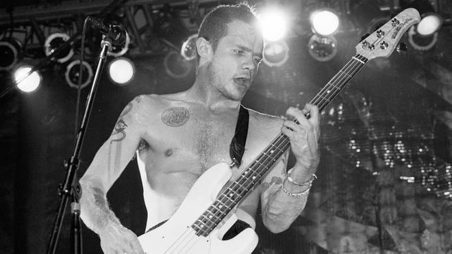 Flea of Red Hot Chili Peppers performs on stage at the Aragon Ballroom in Chicago, Illinois, December 6, 1991