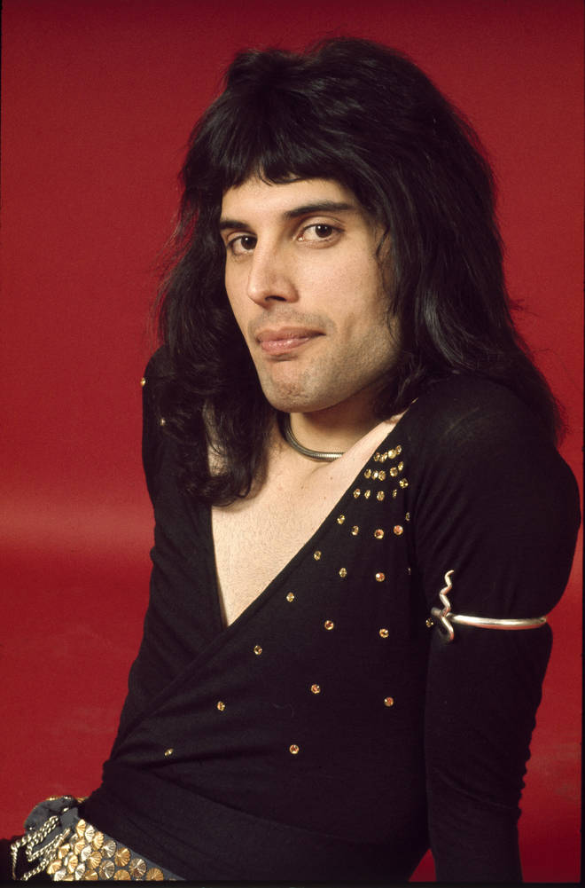 Freddie Mercury of Queen poses in London, England in 1973