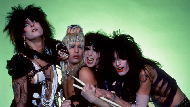 Bassist Nikki Sixx, lead singer Vince Neil, lead guitarist Mick Mars and drummer Tommy Lee of the American hard rock band Motley Crue, 1984