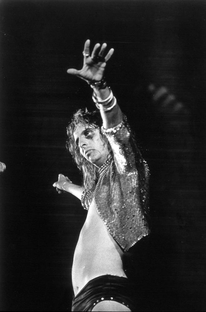 Alice Cooper onstage in 1973