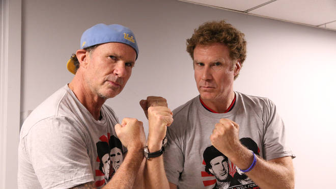 Drummer Chad Smith and actor Will Ferrell pose, May 22, 2014