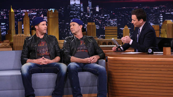 Actor Will Ferrell and drummer Chad Smith during an interview with host Jimmy Fallon on May 22, 2014