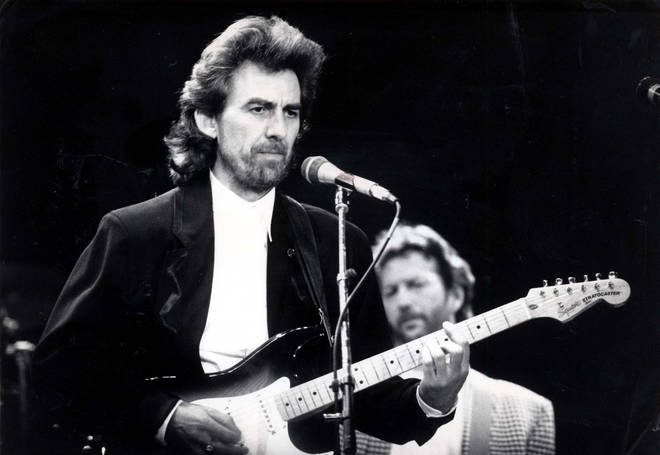 Beatle George Harrison Pictured Performing At The Prince's Trust Concert In 1988