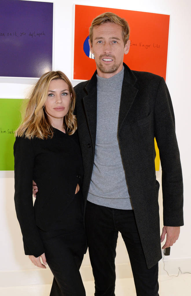 "Abbey Clancy and Peter Crouch attend a private view of ""Daft Apeth"" by Serge Pizzorno of Kasabian at No Ho Showrooms on October 18, 2018 in London"