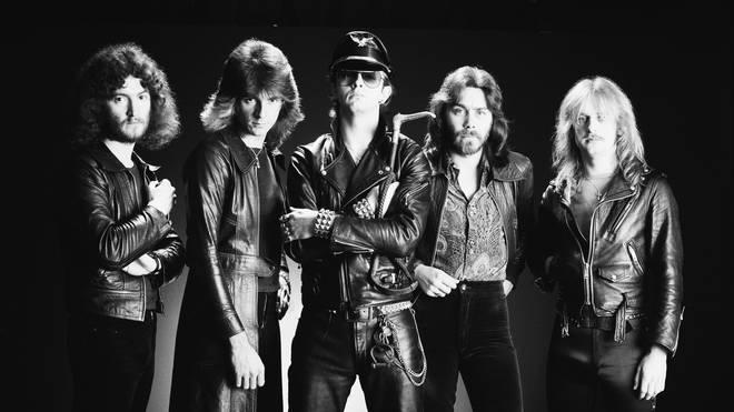 Judas Priest in 1978: drummer Les Binks, bassist Ian Hill, singer Rob Halford, guitarist Glenn Tipton and guitarist K. K. Downing