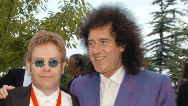 Elton John and Brian May in 2003