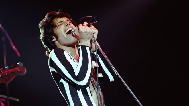 Freddie Mercury of Queen performs live at The Oakland Coliseum in 1977 in Oakland, California