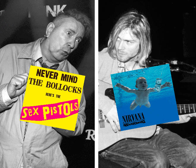 John Lydon with Sex Pistols Never Mind The Bollocks album and Kurt Cobain with Nirvana's Nevermind album