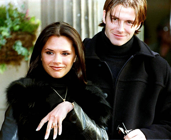 David Beckham and Victoria Adams announce their engagement in 1998