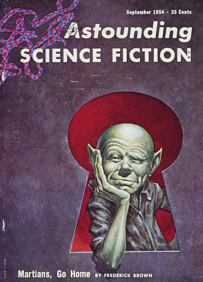 "Astounding Science Fiction magazine, September 1954: cover by Frank Kelly Freas, 1954, illustrating ""Martians, Go Home!"" by Frederick Brown"