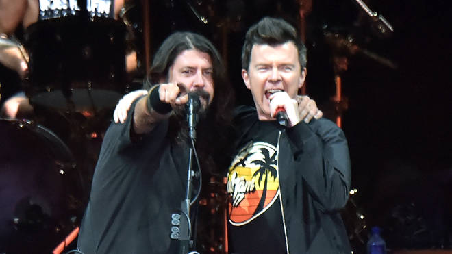 Foo Fighters' Dave Grohl and Rick Astley at Cal Jam 2017