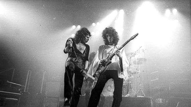Freddie Mercury and Brian May onstage in Oxford, November 1974