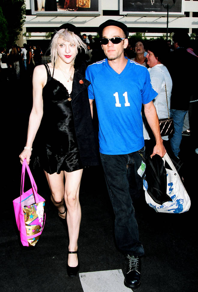 Courtney Love and Michael Stipe at the MTV Movie Awards, two months after Cobain's death