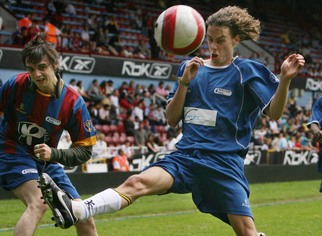 Pete Doherty and Johnny Borrell during the Music Industry Soccer Six event at Upton Park on May 20, 2007.