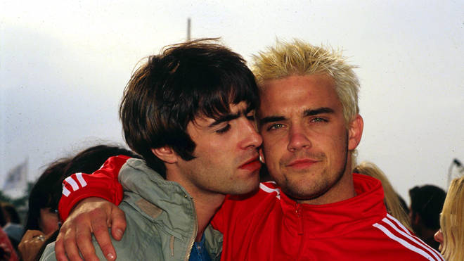 Liam Gallagher and Robbie Williams backstage at Glastonbury in 1995