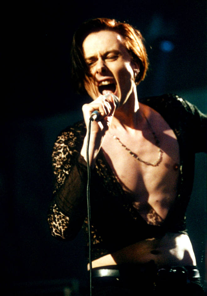 Brett Anderson performing at the BRIT Awards in 1993