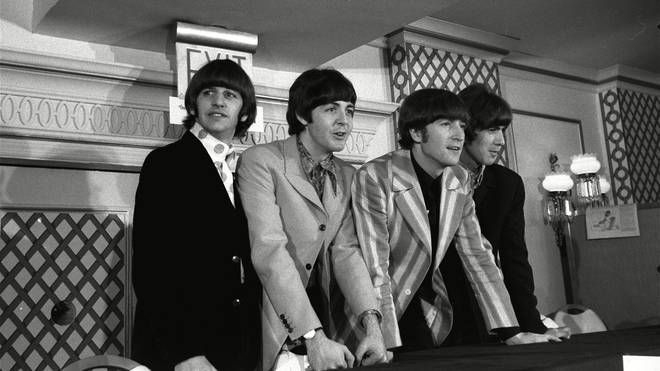 The Beatles at a press conference in August 1966