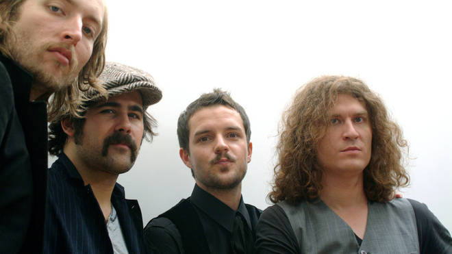 The Killers in Italy in 2006: Mark Stoermer, Ronnie Vannucci, Brandon Flowers and David Keuning