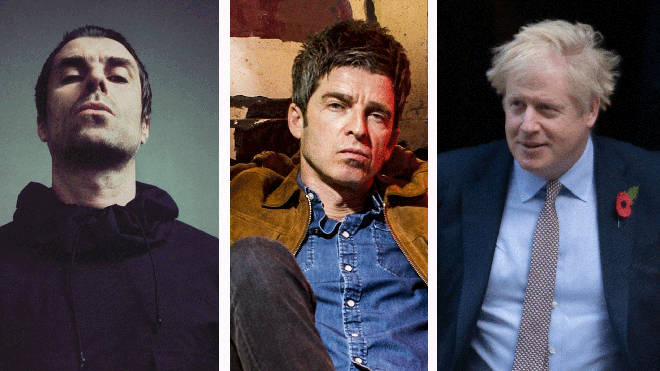 Liam Gallagher, Noel Gallagher and Boris Johnson