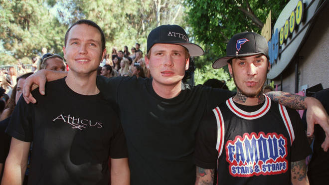 Blink-182 in August 2001: Mark Hoppus, Tom Delonge and Travis Barker