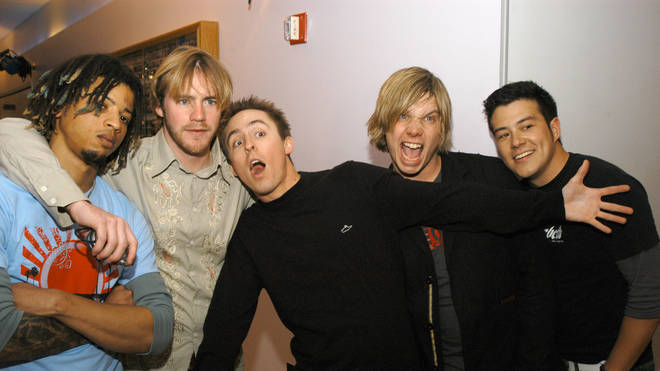 Longineu Parsons, Pete Mosely, Ryan Key, Ben Harper and Sean Mackin of Yellowcard in 2004