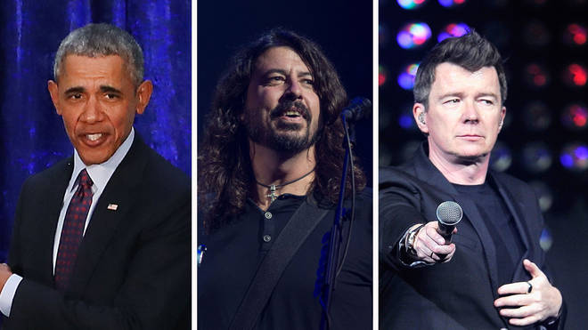 President Barack Obama, Foo Fighters' Dave Grohl and Rick Astley