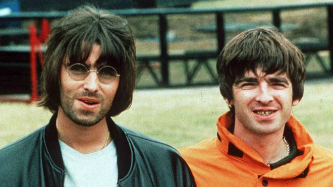 Liam and Noel Gallagher at the Oasis show at Knebworth, August 1996