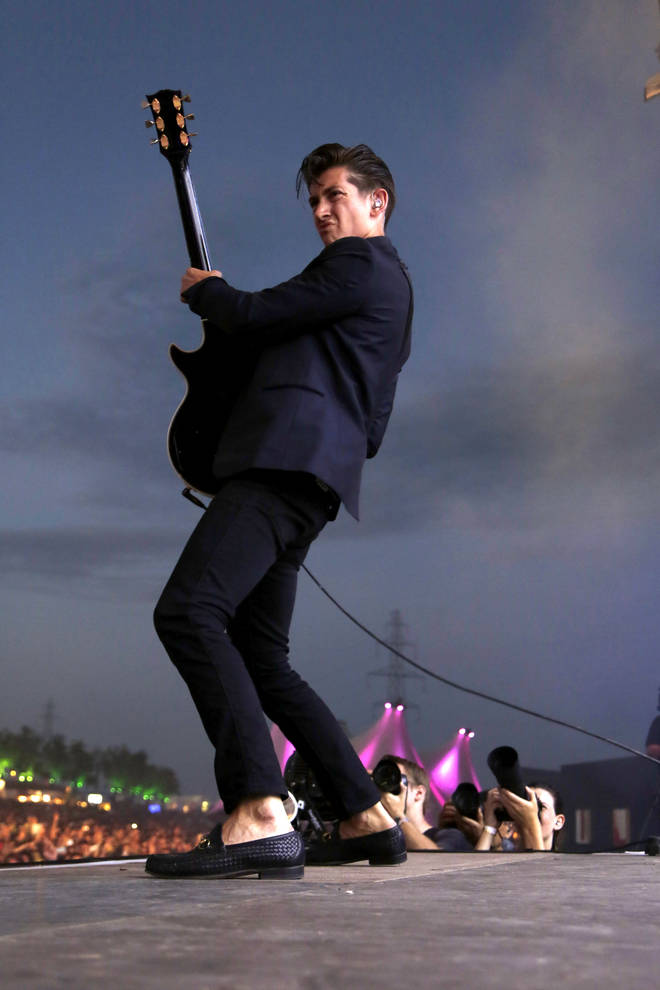Alex Turner onstage with Arctic Monkeys at Paleo Festival in Switzerland, 2013