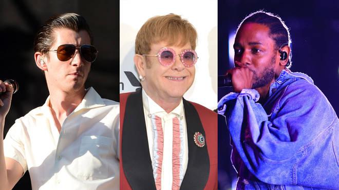 Alex Turner, Elton John and Kendrick Lamar