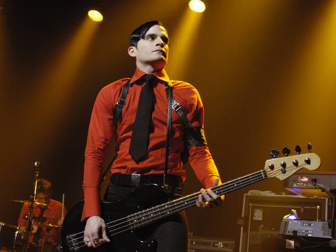 Carlos Dengler of Interpol onstage in 2005